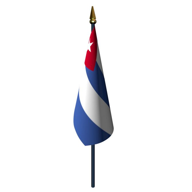 Cuba Flag with Staff and Spear