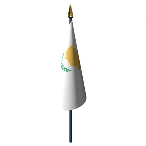 4in x 6in Cyprus Flag with Staff and Spear