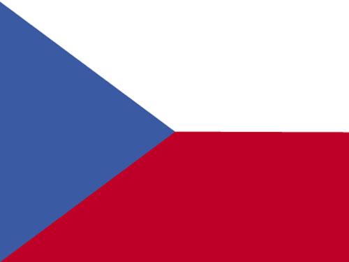 Czech Republic Flag with Staff and Spear