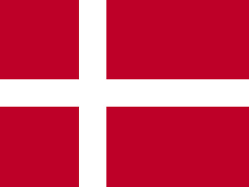 Denmark Flag with Staff and Spear