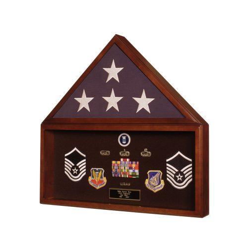 Premium Cherry Flag Case With Memorabilia Display for 3ft x 5ft Flag