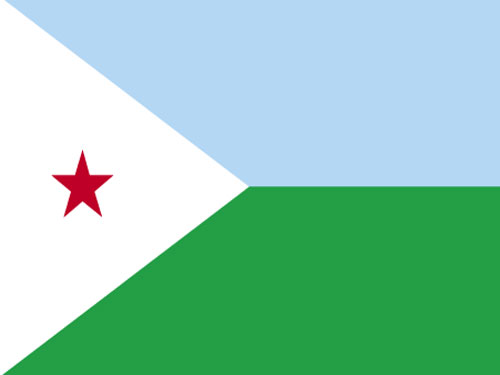 4in x 6in Djibouti Flag with Staff and Spear