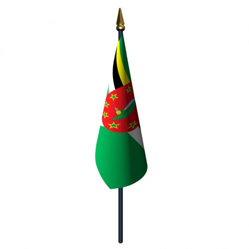Dominica Flag with Staff and Spear