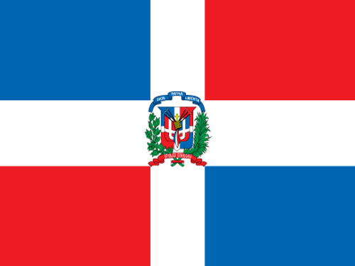 Dominican Republic with Seal Flag with Staff and Spear