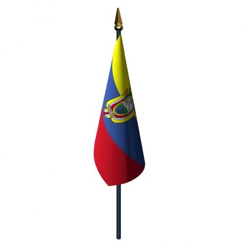 Ecuador with Seal Flag with Staff and Spear