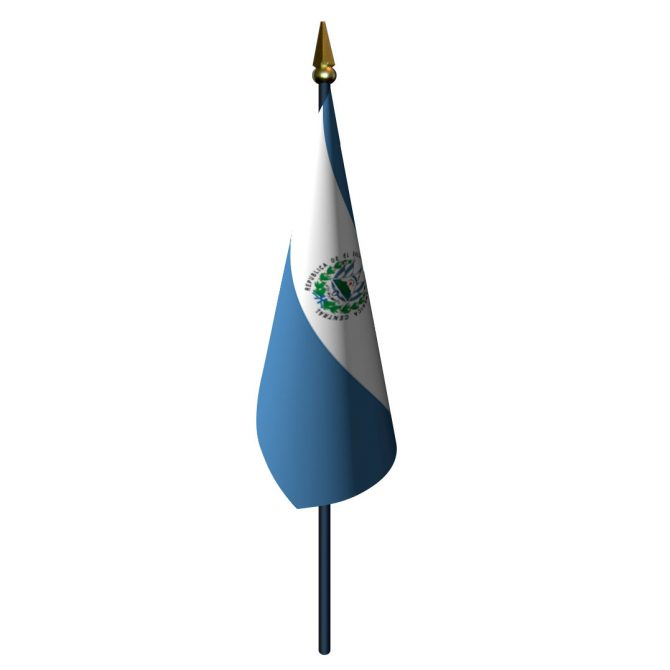 El Salvador with Seal Flag with Staff and Spear