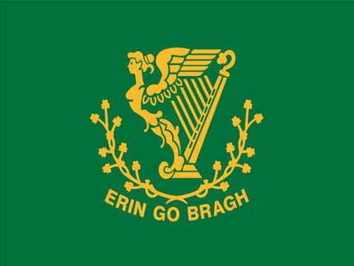 Erin Go Bragh Flag with Staff and Spear