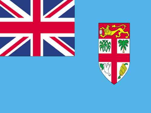 4in x 6in Fiji Flag with Staff and Spear
