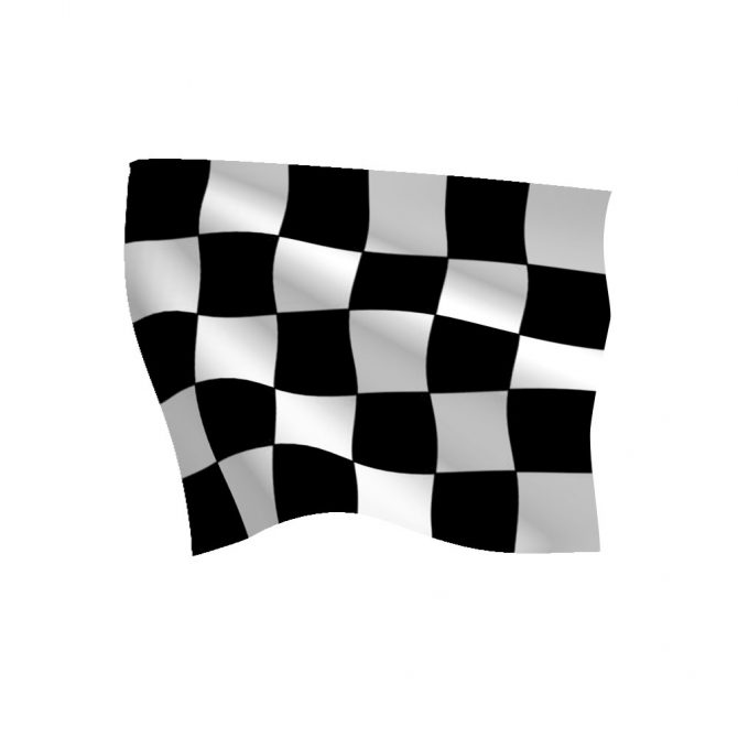 Checkered Flag with Heading and Grommets