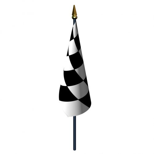 4in x 5in Checkered Flag with Staff and Spear