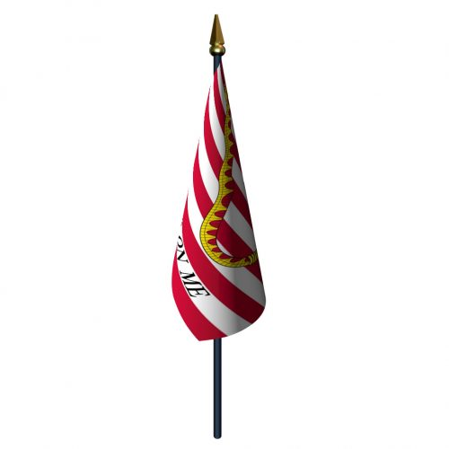 4in x 6in 1st Navy Jack Flag with Staff and Spear