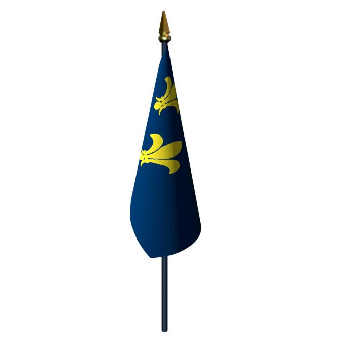 4in x 6in Fleur-De-Lis Flag with Staff and Spear