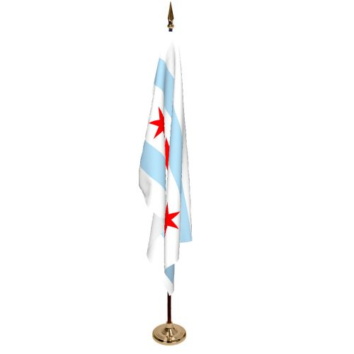 Indoor City of Chicago Ceremonial Flag Set