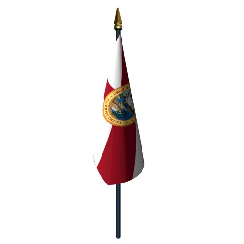 Florida Flag with Staff and Spear