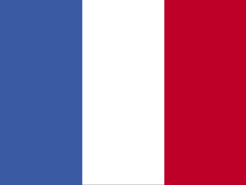 France Flag with Staff and Spear