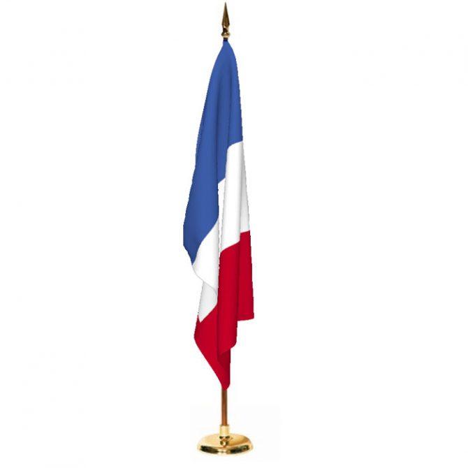 Indoor France Ceremonial Flag Set