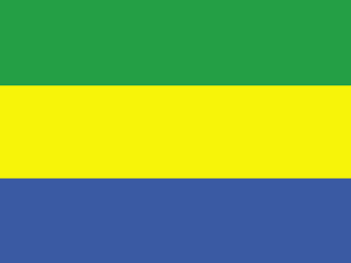 4in x 6in Gabon Flag with Staff and Spear