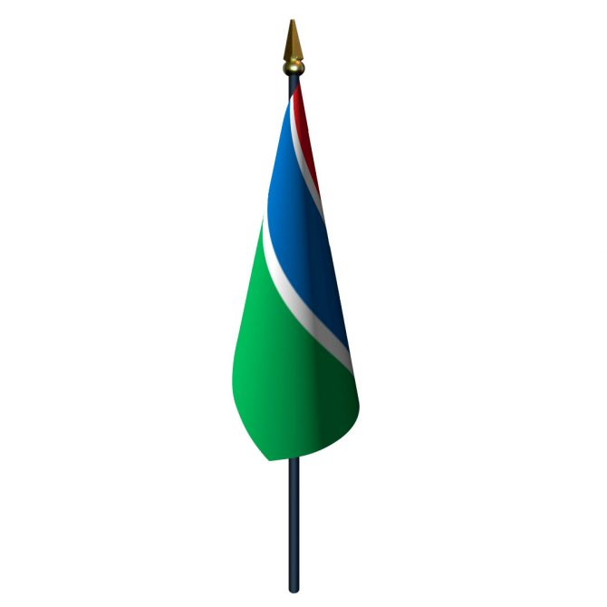 4in x 6in Gambia Flag with Staff and Spear
