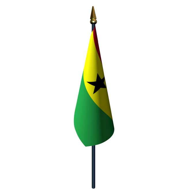 4in x 6in Ghana Flag with Staff and Spear