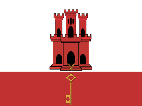 4in x 6in Gibraltar Flag with Staff and Spear