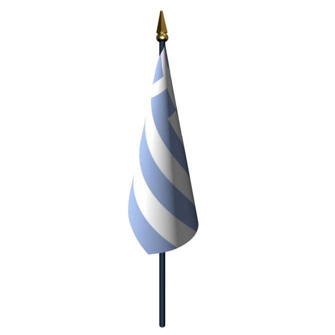 Greece Flag with Staff and Spear