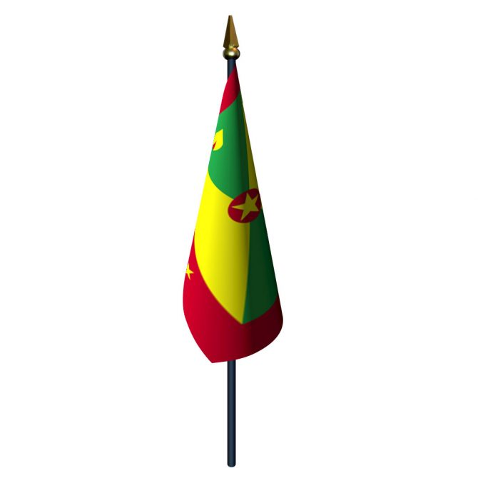 Grenada Flag with Staff and Spear