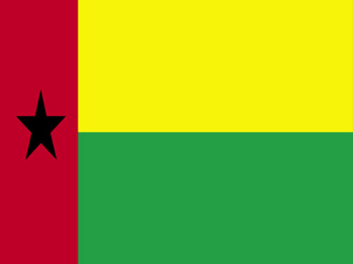 4in x 6in Guinea-Bissau Flag with Staff and Spear