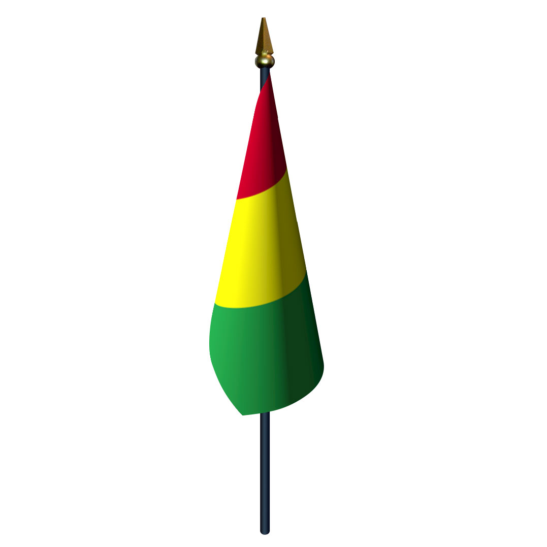 4in x 6in Guinea Flag with Staff and Spear