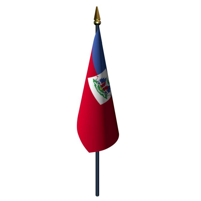 Haiti with Seal Flag with Staff and Spear