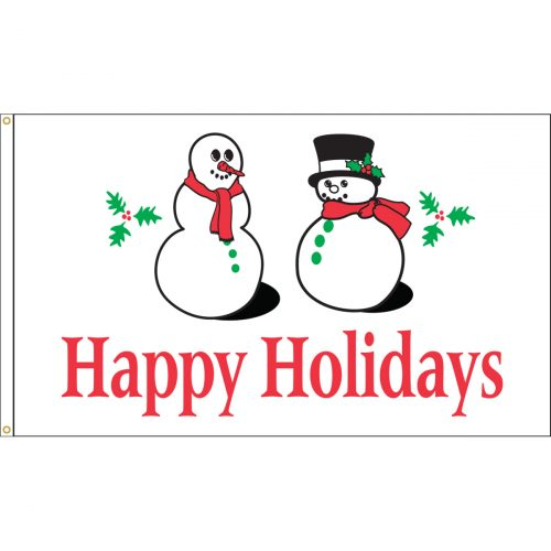 Happy Holidays Snowmen Flag