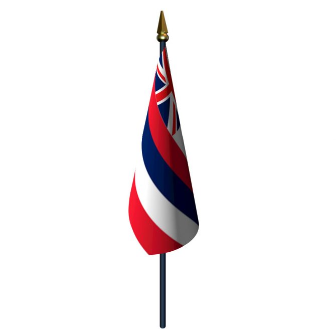 Hawaii Flag with Staff and Spear
