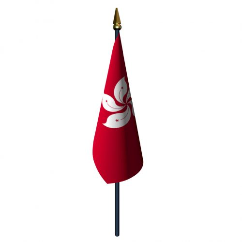 4in x 6in Hong Kong Flag with Staff and Spear