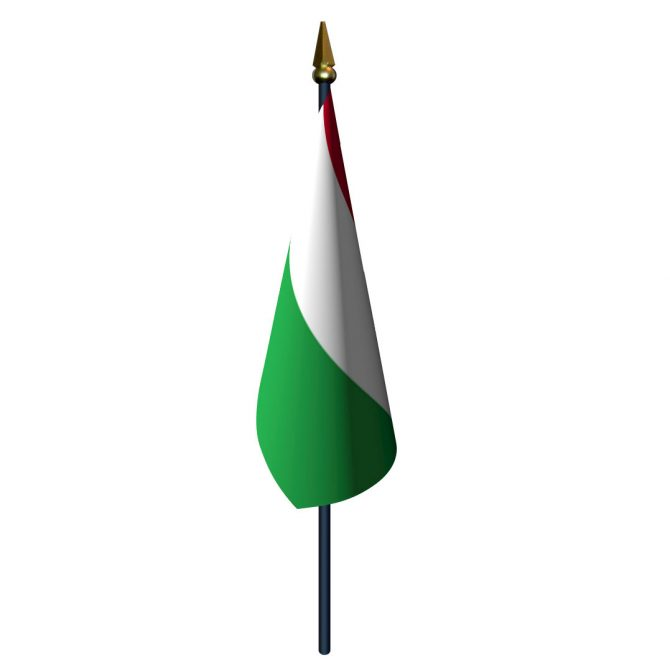 Hungary Flag with Staff and Spear