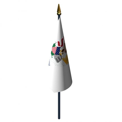 Illinois Flag with Staff and Spear