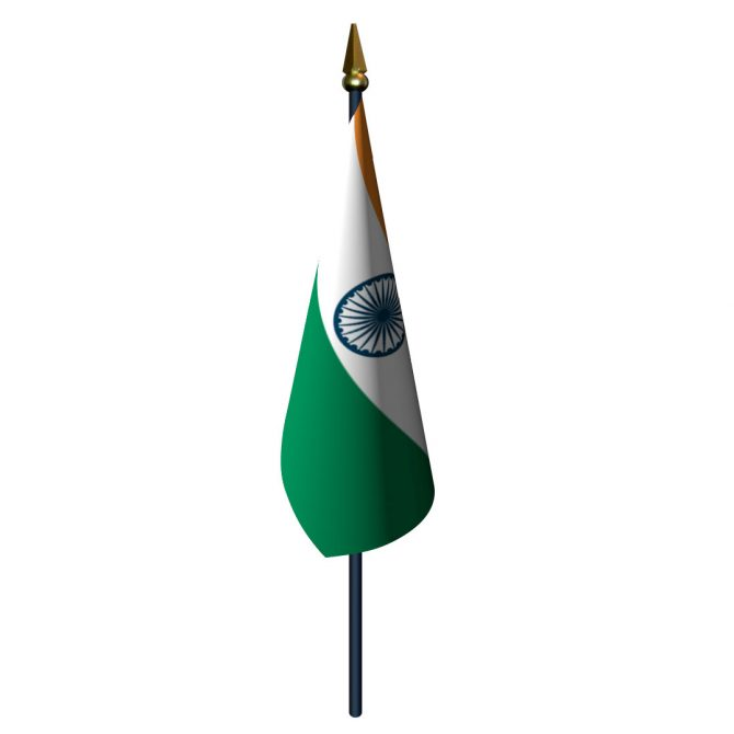 India Flag with Staff and Spear