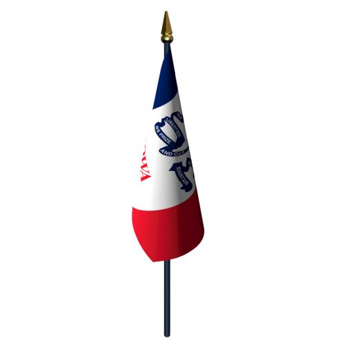 Iowa Flag with Staff and Spear