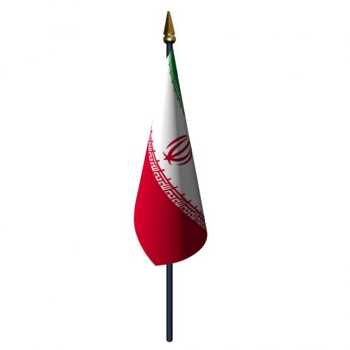 4in x 6in Iran Flag with Staff and Spear