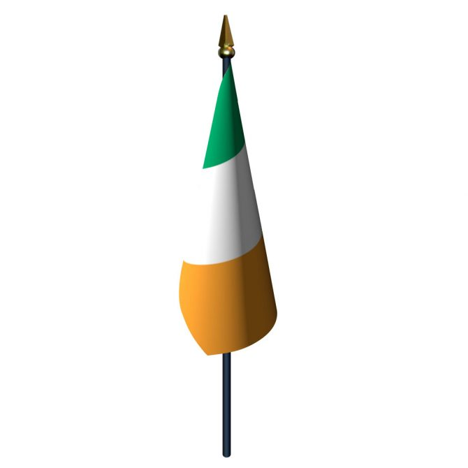 Ireland Flag with Staff and Spear