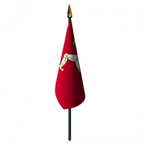 4in x 6in Isle of Man Flag with Staff and Spear