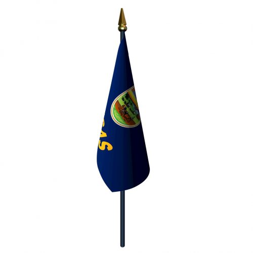 Kansas Flag with Staff and Spear