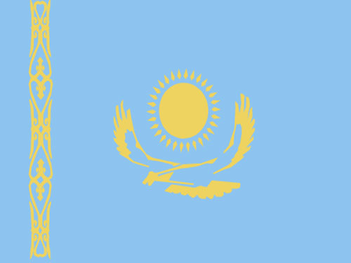 4in x 6in Kazakhstan Flag with Staff and Spear