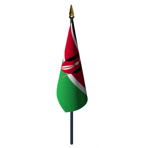 4in x 6in Kenya Flag with Staff and Spear
