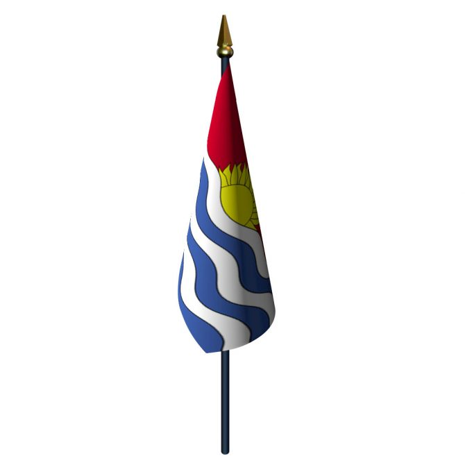 4in x 6in Kiribati Flag with Staff and Spear