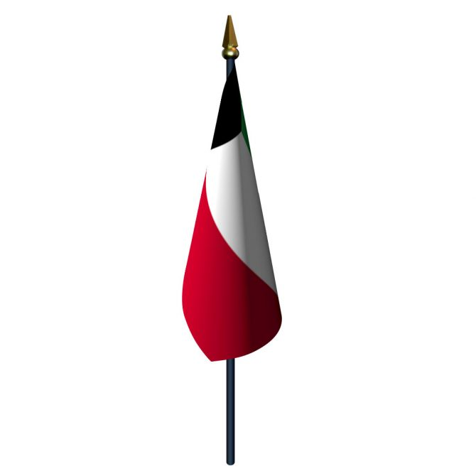 4in x 6in Kuwait Flag with Staff and Spear