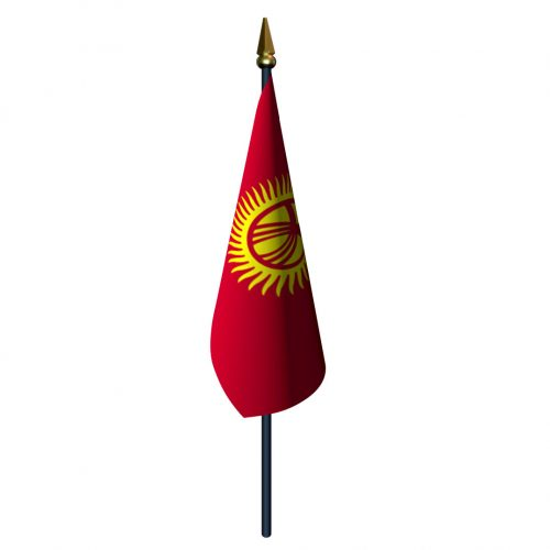 4in x 6in Kyrgyzstan Flag with Staff and Spear