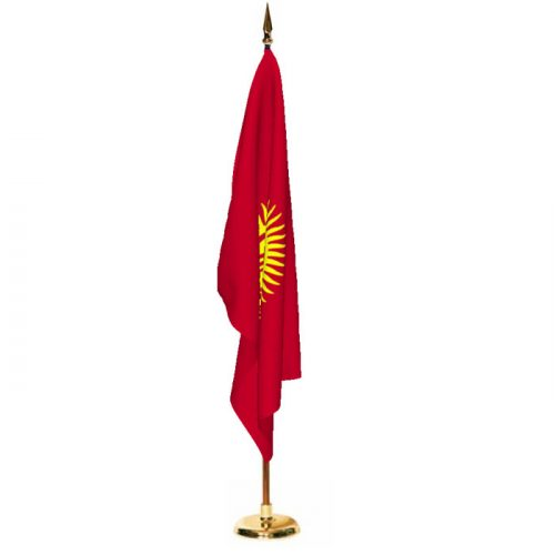 Indoor Kyrgyzstan Ceremonial Flag Set
