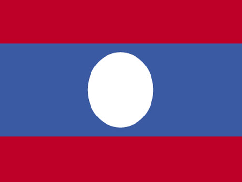 4in x 6in Laos Flag with Staff and Spear