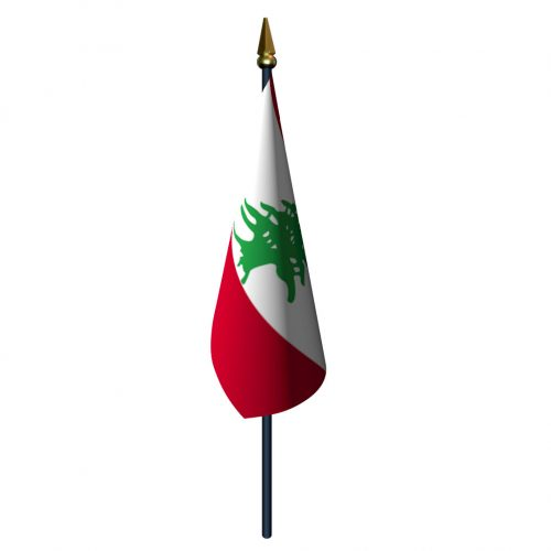 4in x 6in Lebanon Flag with Staff and Spear