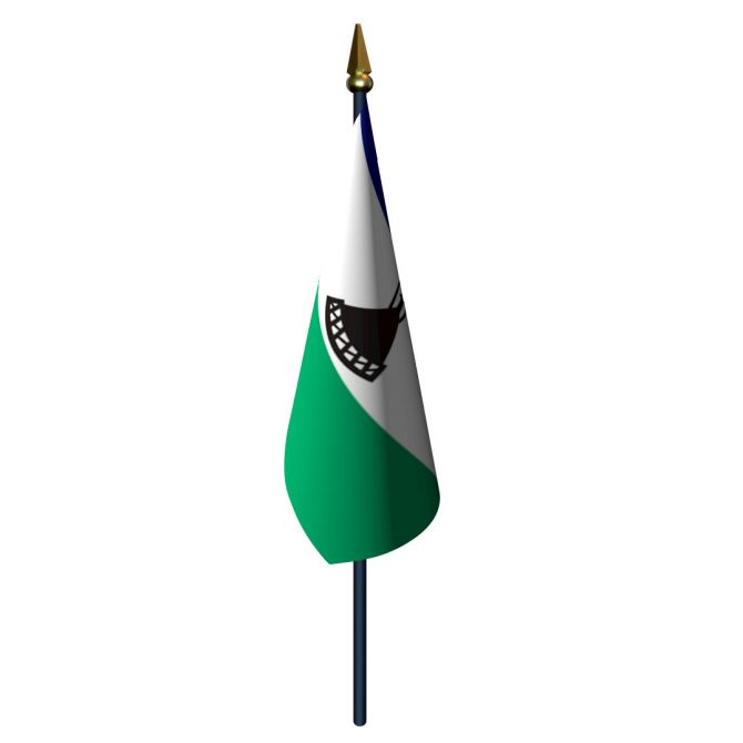 4in x 6in Lesotho Flag with Staff and Spear