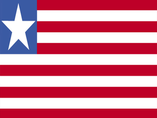 4in x 6in Liberia Flag with Staff and Spear